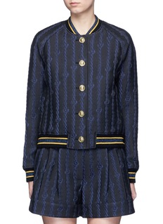3.1 PHILLIP LIMFriendship knot appliqué varsity bomber jacket