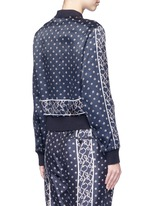 Friendship knot foulard print satin bomber jacket
