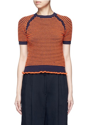 Main View - Click To Enlarge - 3.1 Phillip Lim - Polka dot bouclé ruffle knit top