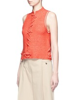 Knot front sleeveless knit top