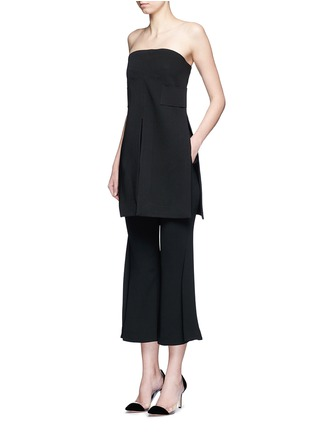 Figure View - Click To Enlarge - Nicholas - Satin waistband crepe cropped flared pants