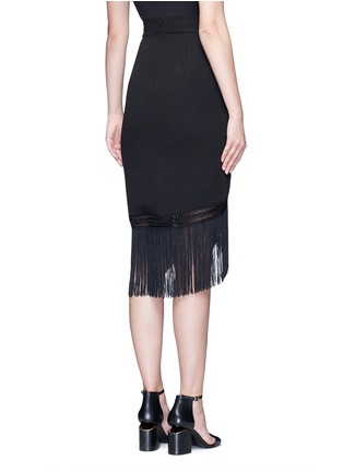 Back View - Click To Enlarge - Nicholas - Macramé fringe crepe skirt