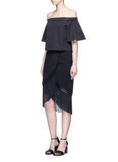 NicholasMacramé fringe crepe skirt