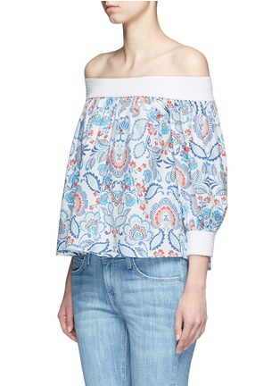 Front View - Click To Enlarge - Nicholas - Off-shoulder floral paisley print top