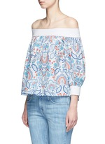 Off-shoulder floral paisley print top