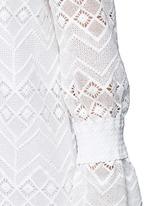 Zigzag edge off-shoulder geometric lace dress