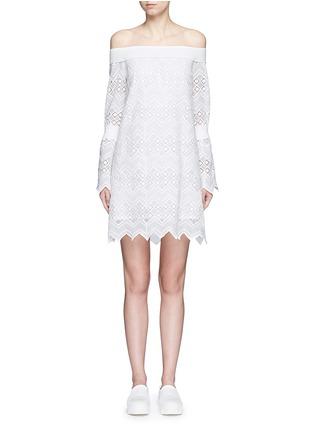 Main View - Click To Enlarge - Nicholas - Zigzag edge off-shoulder geometric lace dress