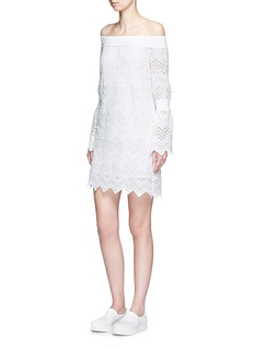 NICHOLASZigzag edge off-shoulder geometric lace dress