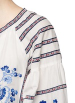 Floral ethnic embroidery cotton-silk dress