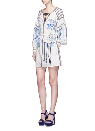 Figure View - Click To Enlarge - Nicholas - Floral ethnic embroidery cotton-silk dress