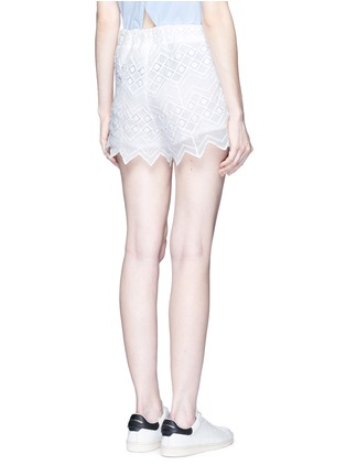 Back View - Click To Enlarge - Nicholas - Zigzag edge geometric lace cotton shorts