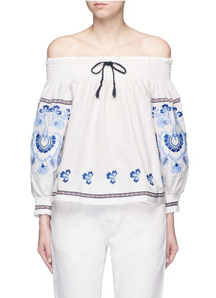 Nicholas - Floral embroidery smocked off-shoulder top