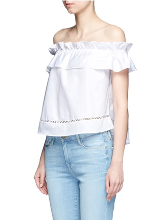 Front View - Click To Enlarge - Nicholas - 'Sofia' ruffle poplin off-shoulder top