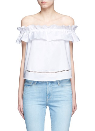 Main View - Click To Enlarge - Nicholas - 'Sofia' ruffle poplin off-shoulder top