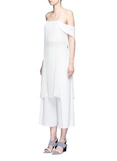 NicholasOff-shoulder plissé pleat drape back tunic