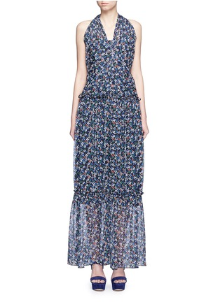 Main View - Click To Enlarge - Nicholas - 'Posie' floral print halterneck tiered maxi dress