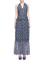 'Posie' floral print halterneck tiered maxi dress