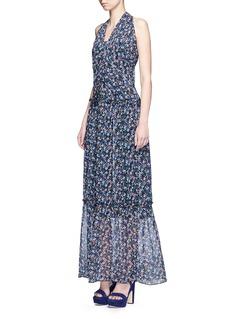 NICHOLAS'Posie' floral print halterneck tiered maxi dress