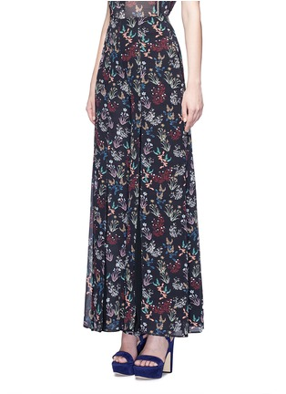 Front View - Click To Enlarge - Nicholas - Garden floral print silk palazzo pants