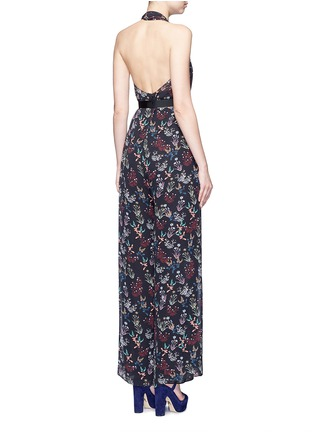 Back View - Click To Enlarge - Nicholas - Garden floral print silk halter jumpsuit