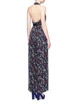 Garden floral print silk halter jumpsuit