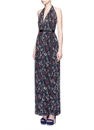 Figure View - Click To Enlarge - Nicholas - Garden floral print silk halter jumpsuit