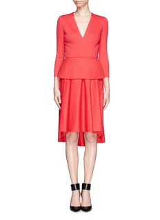 ALEXANDER MCQUEEN Wool-cashmere peplum dress