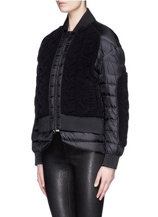 Front View - Click To Enlarge - Moncler - 'KAYA' CABLE KNIT FRONT DOWN JACKET