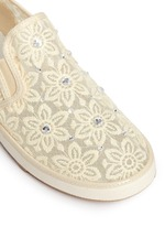 'Ariana Slider' crystal appliqué embroidery kids slip-ons