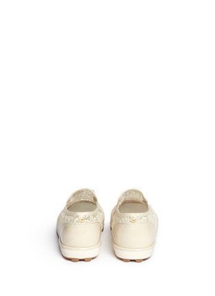 Back View - Click To Enlarge - Stuart Weitzman - 'Ariana Slider' crystal appliqué embroidery kids slip-ons