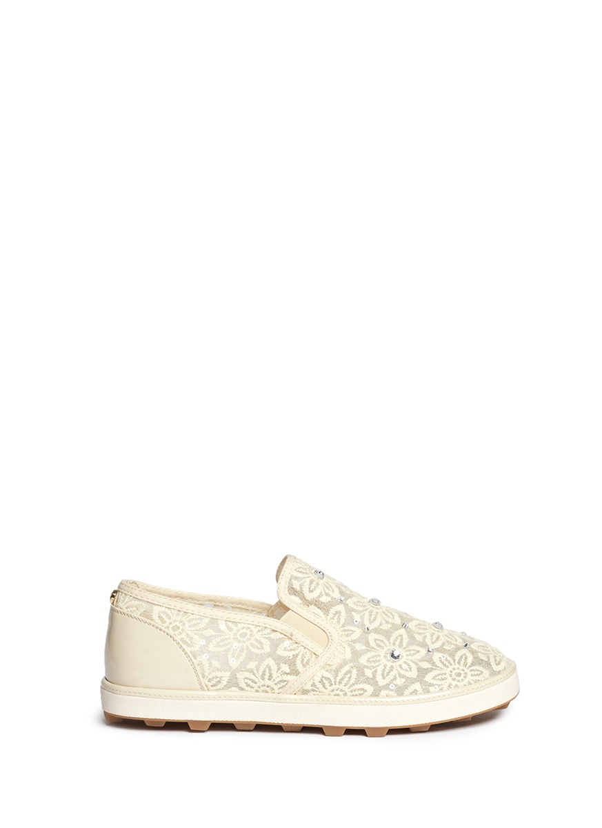 Ariana Slider crystal appliqué embroidery kids slip-ons by Stuart Weitzman
