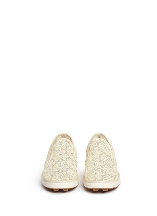 Figure View - Click To Enlarge - Stuart Weitzman - 'Ariana Slider' crystal appliqué embroidery kids slip-ons