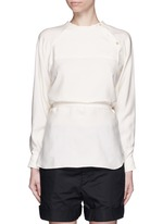 Sash tie asymmetric silk shirt top