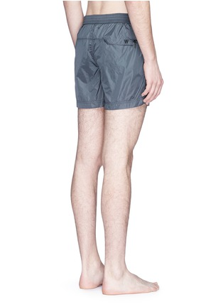 Back View - Click To Enlarge - DANWARD - Solid flat front elastic back swim shorts