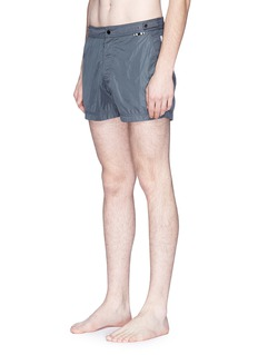 DANWARD Solid flat front elastic back swim shorts