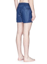 Solid flat front elastic back swim shorts