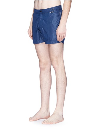 Figure View - Click To Enlarge - DANWARD - Solid flat front elastic back swim shorts