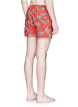 Back View - Click To Enlarge - DANWARD - Floral camouflage print elastic swim shorts