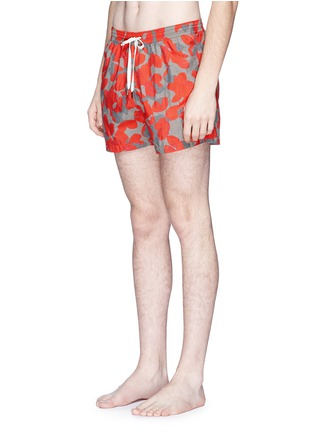 Figure View - Click To Enlarge - DANWARD - Floral camouflage print elastic swim shorts