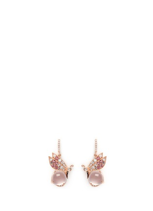 Main View - Click To Enlarge - Anabela Chan - 'Butterfly' topaz pavé rose quartz drop earrings