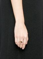 Diamond pavé mother of pearl mini swallow ring