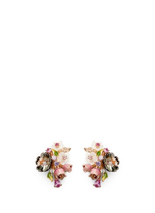 Main View - Click To Enlarge - Anabela Chan - 'Bouquet' diamond mother of pearl stud earrings