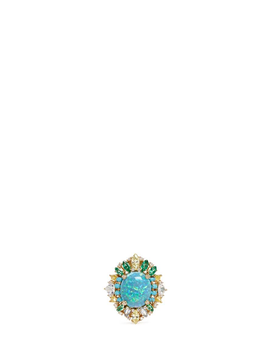 Opals Poseidon topaz gemstone ring by Anabela Chan