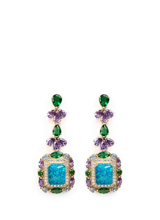 Main View - Click To Enlarge - Anabela Chan - 'Opals Deco' diamond pavé gemstone drop earrings