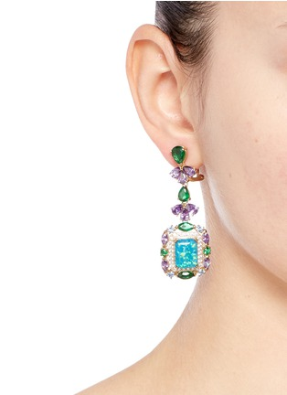 Figure View - Click To Enlarge - Anabela Chan - 'Opals Deco' diamond pavé gemstone drop earrings