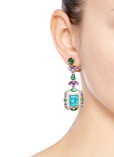 Anabela Chan Opals Deco' diamond pavé gemstone drop earrings
