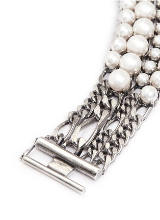 Detail View - Click To Enlarge - Lanvin - Glass pearl curb chain bracelet