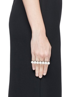 LANVINGlass pearl two finger ring
