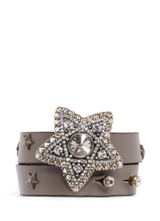 LANVIN Crystal star leather wrap bracelet