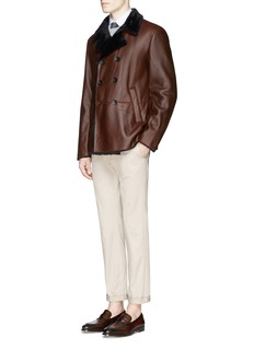 Armani CollezioniDouble breasted shearling leather jacket